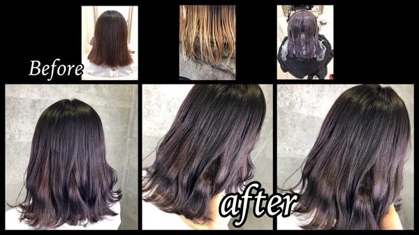 大阪豊中でグラデーションカラーを退色しても綺麗なベリーピンクに!【かなこさん】の髪