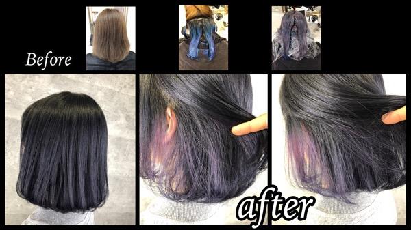 大阪豊中でバイオレットブルーのインナーカラーと濃厚ブルーブラックが可愛い!【みゆうさん】の髪