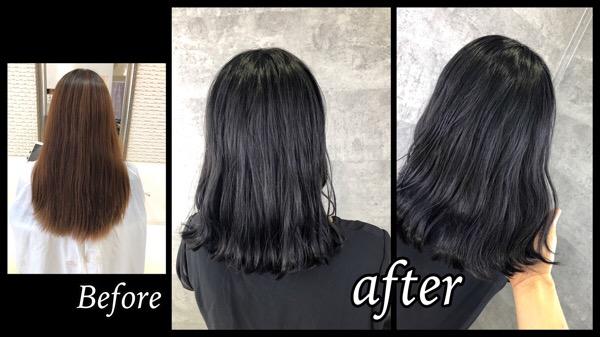 大阪豊中で透明感のある濃厚な黒髪グレーバイオレットがお洒落で可愛い!【ももこさん】の髪