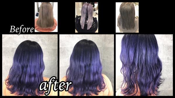 大阪豊中でカラートリートメントとカラー剤のダブルカラーで再現するブルーラベンダーが可愛い!【かなさん】の髪