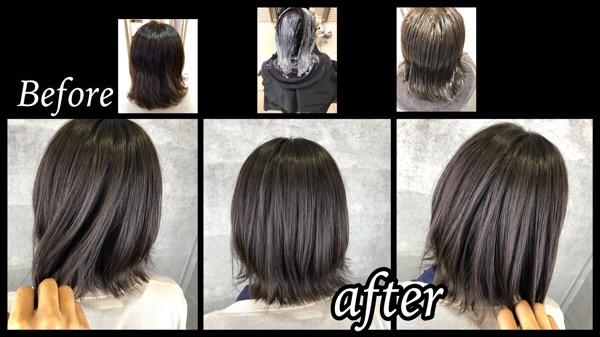 大阪豊中で黒染め後から外国人風カラーのカーキアッシュにしたい!【ちあきさん】の髪