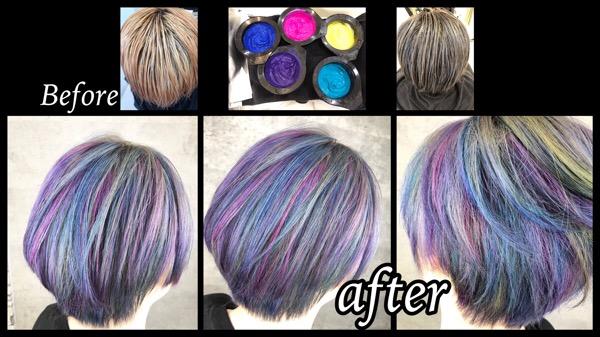 大阪豊中でショートヘアに似合うユニコーンカラーがお洒落で可愛すぎた!【みきさん】の髪