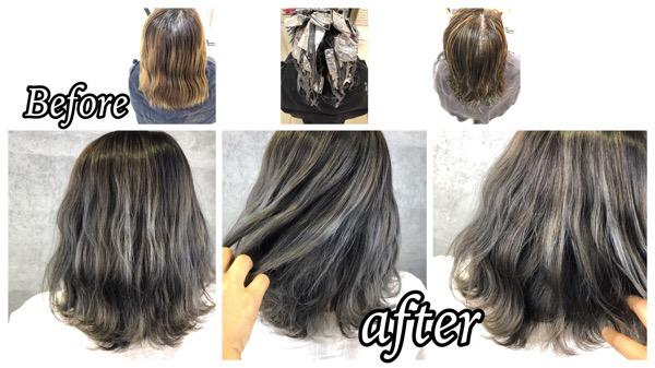豊中で白髪を外国人風カラーに明るく透明感を引き出す魔法のハイライトヘアカラー【なおみさん】の髪