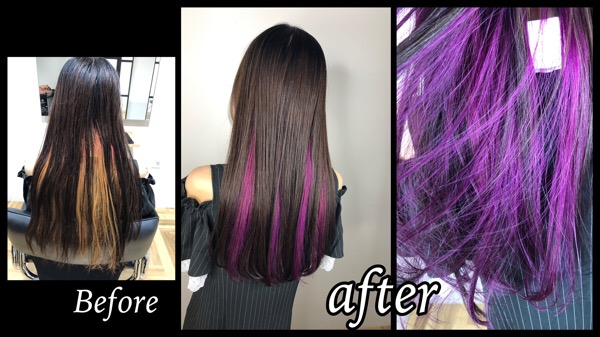 大阪梅田でラベンダーピンクのインナーカラーがお洒落で可愛いデザインを楽しもう!【ななみさん】の髪
