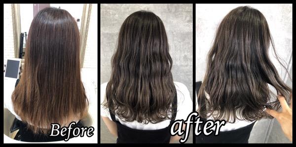 本田の新色ネイビーグレージュで明るさキープの透明感カラーが可愛い【まゆさん】の髪
