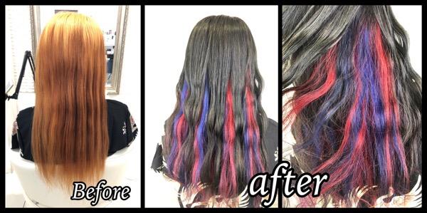 大阪豊中でレッドとブルーのユニコーンインナーカラーとグレーのデザインカラー【りなさん】の髪