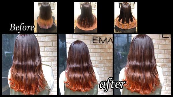 大阪梅田で裾カラーオレンジが可愛いお洒落な韓国女子カラーが人気【あけみさん】の髪
