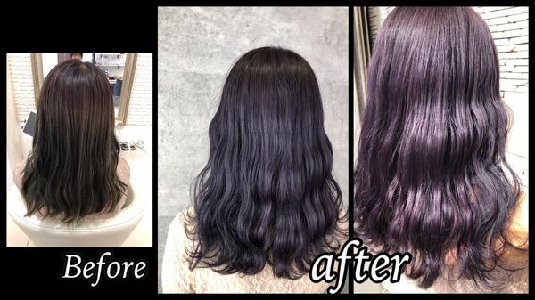 豊中でラベンダーパープルカラーを超濃厚に染めたら綺麗すぎた!!【なみちゃん】の髪