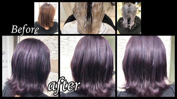 大阪豊中でブリーチからの濃厚なラベンダーカラーにする為のプロセス【なおみさん】の髪