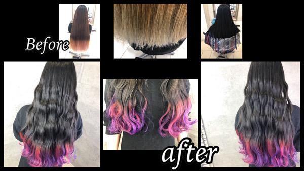 大阪豊中で毛先デザインカラーのピンクとラベンダーがお洒落すぎて可愛い!【ほのかさん】の髪
