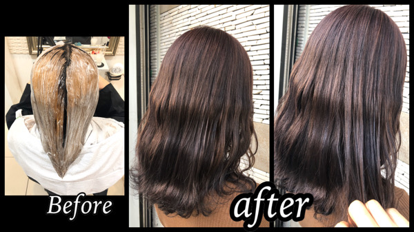 大阪豊中で退色が綺麗なベージュになるピンクグレーをブリーチオンカラーで再現!【かえでさん】の髪