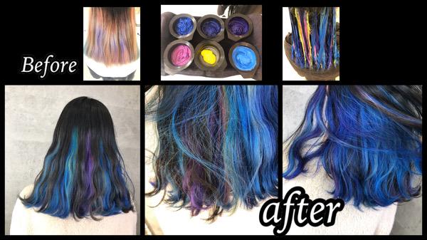 大阪豊中でブルー系のユニコーンインナーカラーでお洒落すぎるデザインカラーが人気!【さきさん】の髪