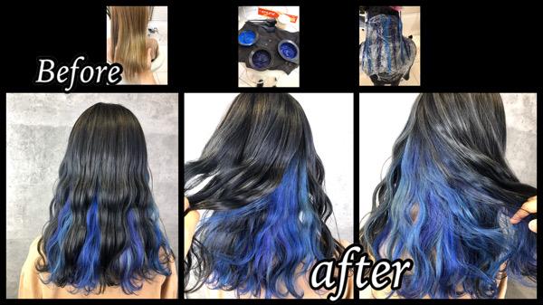大阪豊中でインナーカラーブルーベースと濃厚グレーがお洒落なデザインカラー【じゅきのさん】の髪