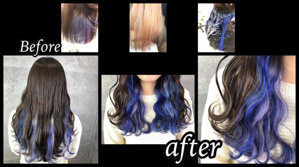 大阪豊中でインナーカラーが可愛いブルーシルバーユニコーンカラー【りささん】の髪