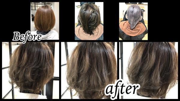 大阪豊中で白髪を染めながら透明感のある外国人風カラーが最高に綺麗!【ともこさん】の髪