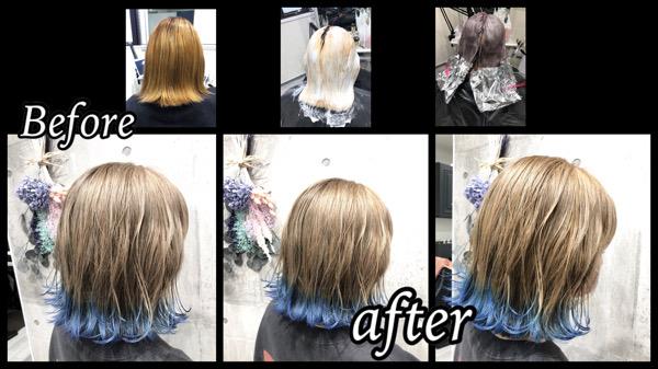 大阪豊中でホワイトカラーに裾カラーブルーがお洒落すぎるブリーチカラーが可愛い!【あんなさん】の髪