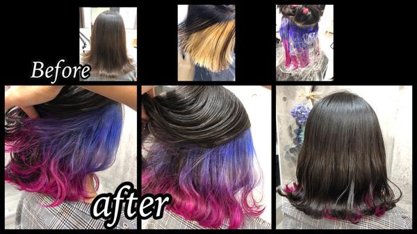 大阪豊中で濃厚グレーとラベンダーからピンクのグラデーションインナーカラー【ももかさん】の髪