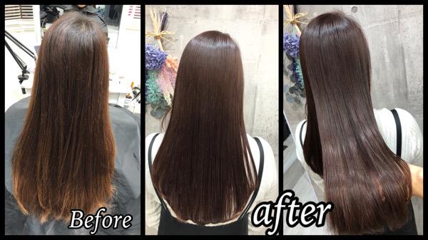 大阪豊中で圧倒的透明感のピンクベージュでお洒落カラーが可愛い【けいこさん】の髪