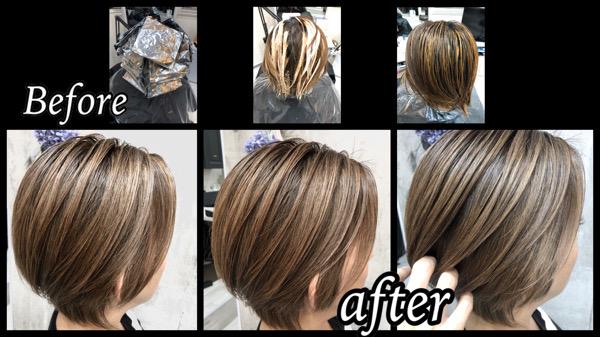 大阪豊中で白髪を染めながらハイライトで作る明るい外国人風カラー【ともこさん】の髪