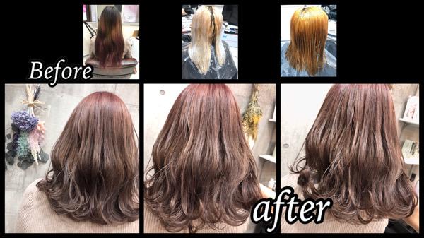 大阪豊中でハイブリーチからのミルクピンクカラーでお洒落な透明感カラー【くるみさん】の髪