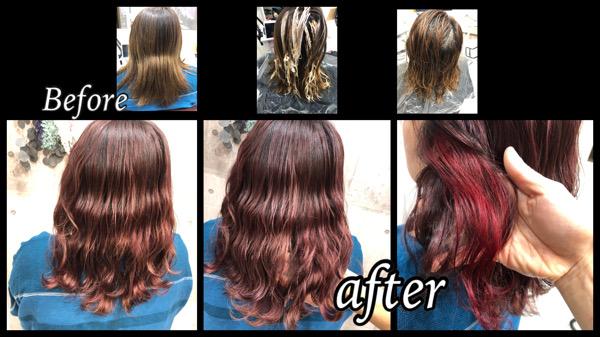 大阪豊中で白髪を染めながらハイライトとピンクモノトーンで作るお洒落すぎるカラー【なおみさん】の髪
