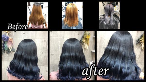 大阪豊中でブリーチからの超濃厚ブルーグレーのグラデーションカラーが可愛い!【ゆきこさん】の髪