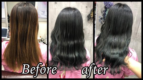 大阪豊中でバレイヤージュの土台から作るカーキグレージュが綺麗!【さやさん】の髪
