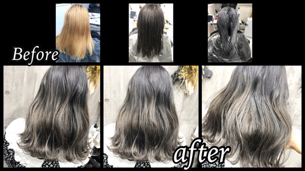 大阪豊中でハイブリーチの土台から二回染めで作るシルバーカラーの極み!【ゆきこさん】の髪