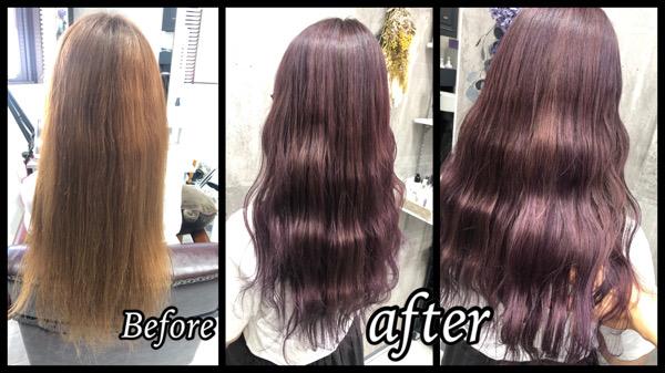 大阪豊中で白髪を染めながら透明感のあるラベンダーピンク外国人風カラー【ようこさん】の髪