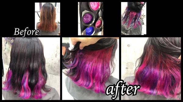 大阪豊中カラトリでピンク系のオーロラインナーカラーがお洒落【まなさん】の髪