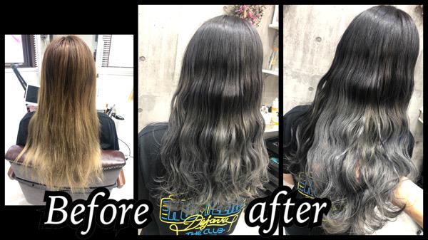 大阪豊中カラトリでホワイトシルバーグラデーションカラーを積み重ねで再現したら綺麗【かおりさん】の髪