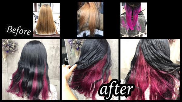 大阪豊中カラトリでピンクのインナーカラーと濃厚グレーが可愛過ぎた!!【ゆきこさん】の髪