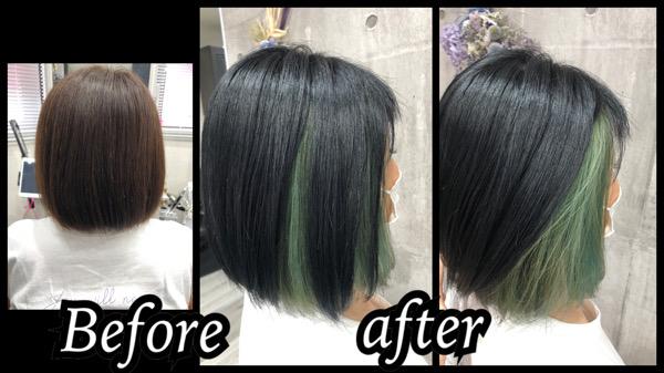 大阪豊中カラトリでインナーカラーグリーンのお洒落なデザインカラーが可愛い【りえさん】の髪
