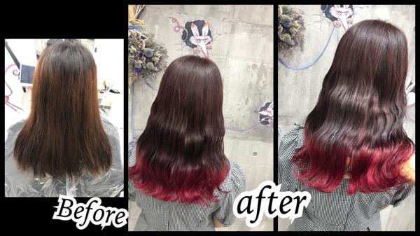 大阪豊中カラトリで裾カラーピンクがお洒落で可愛いデザインカラー【みおさん】の髪
