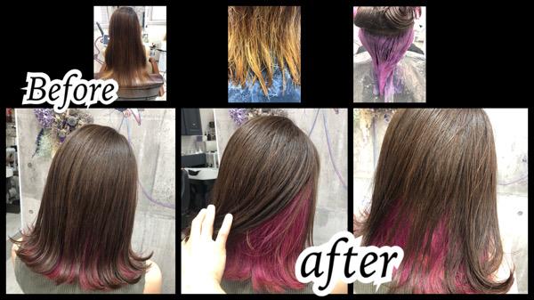 大阪豊中カラトリでピンクのインナーカラーが可愛いお洒落なデザインカラー【あいりさん】の髪