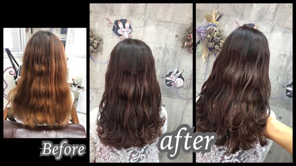 大阪豊中カラトリで白髪を染めながら透明感カラーを再現するのに必要なのは赤味をなくすこと!【しずかさん】の髪