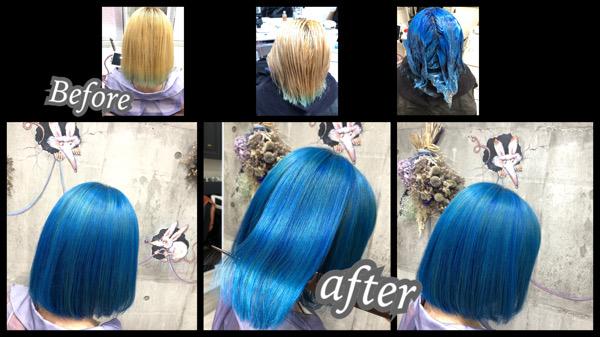 大阪豊中カラトリで鮮やかネイビーブルーはハイブリーチとカラートリートメントで作るデザインカラー【あんなさん】の髪