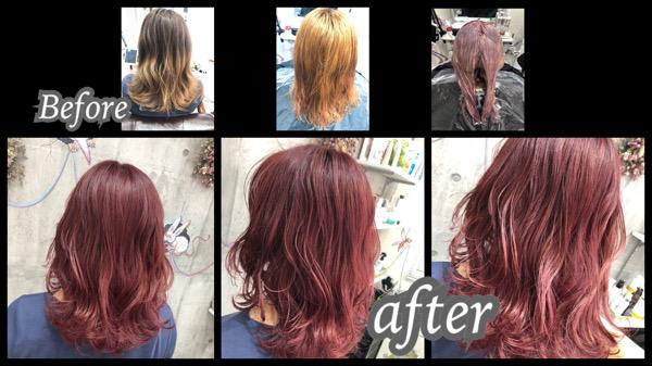 大阪豊中カラトリでブリーチからの鮮やかピンクカラーでお洒落なヘアカラー【もかさん】の髪