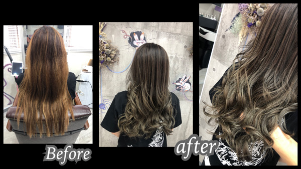 大阪豊中カラトリで白髪染め×外国人風カラーは積み重ねの土台を作ることが大切!【れいさん】の髪