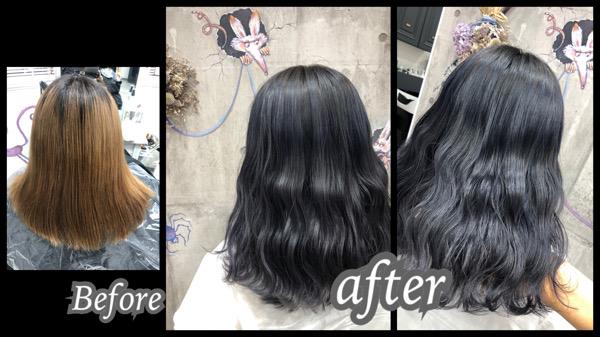 大阪豊中カラトリでダブルカラーで色持ち抜群なアッシュグレーで艶髪【なつきさん】の髪
