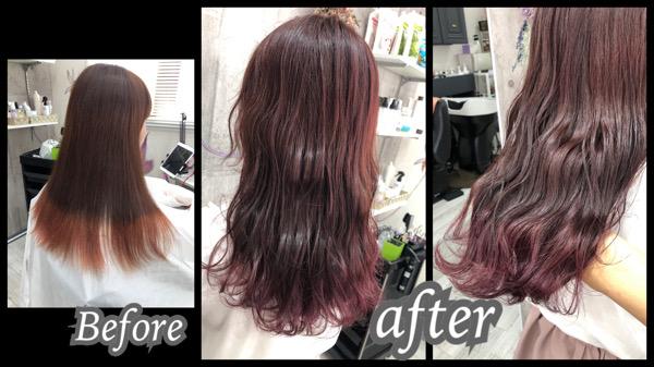 大阪豊中カラトリで濃厚なベリーピンクのお洒落なゆめかわいいヘアカラー【みおさん】の髪