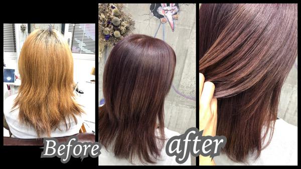 大阪豊中カラトリでハイブリーチベースからのピンクベージュで透明感のあるお洒落カラー【まいこさん】の髪