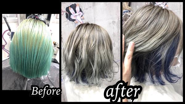 大阪豊中カラトリで劇的Before/afterのブルーのインナーカラーとホワイトカラーがお洒落!【あんなさん】の髪