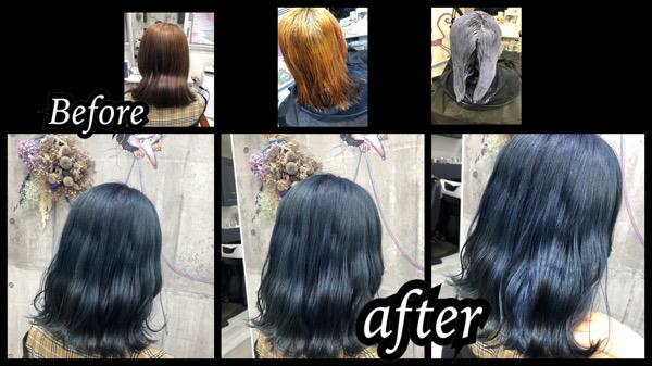 大阪豊中カラトリでブリーチからの濃厚ブルーラベンダーで透明感のある高彩度カラーが人気【あやのさん】の髪