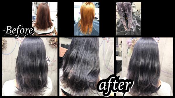 大阪豊中カラトリでブリーチからのシルバーラベンダーで透明感のある外国人風カラー【まうさん】の髪
