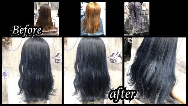 大阪豊中カラトリでブリーチからの濃厚なブルーラベンダーで退色も綺麗な透明感カラーが人気【ゆりさん】の髪