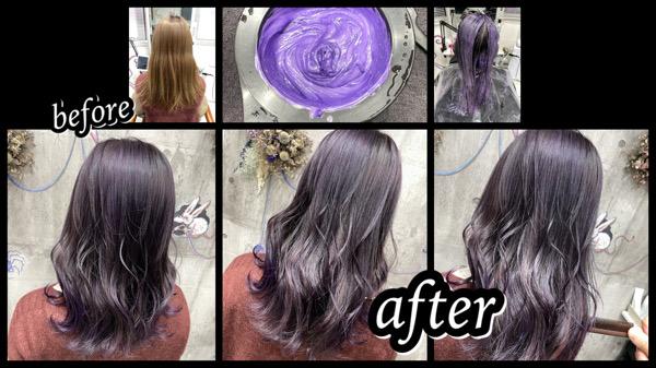大阪豊中カラトリでシルバーラベンダーを最高に綺麗に作るプロセス【まうさん】の髪