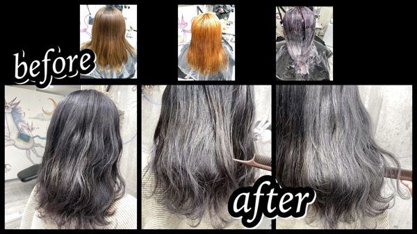 大阪豊中カラトリで濃いめで作るホワイトシルバーラベンダーは退色も綺麗な外国人風カラー【ふうかさん】の髪