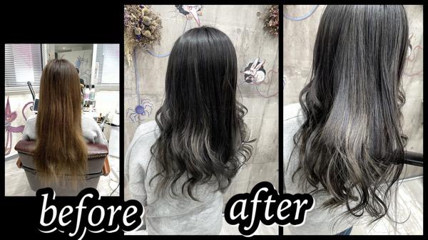 大阪豊中カラトリで積み重ねるシルバーグレーのグラデーションカラーが綺麗!【かおりさん】の髪