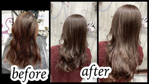 大阪豊中カラトリで白髪を染めながら赤みを減らしていく積み重ねるダブルカラー【りかこさん】の髪